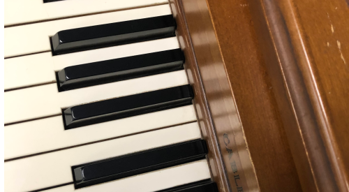 Close-up of piano keys.